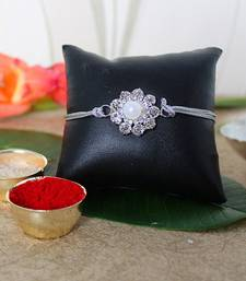 Buy Silver Floral Rakhi fancy-rakhi online