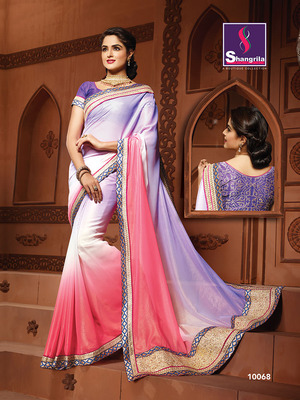 FANCY DESIGNER SAREE WITH SEMI STICHED WORK BLOUSE