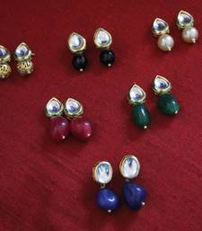 Buy Multicoloured kundan Studs - Set of 6 combo-earring online
