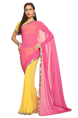 Yellow / Pink Embroidered Faux georgette Saree With Blouse (1520)