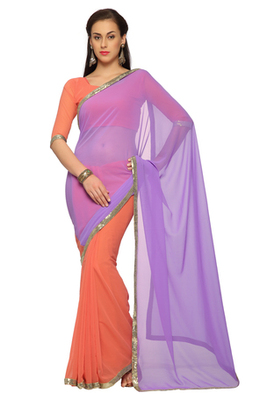 Yellow / Pink Embroidered Faux georgette Saree With Blouse (1538)