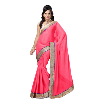 Hypnotex Pink Embroidered Chiffon Saree With Blouse