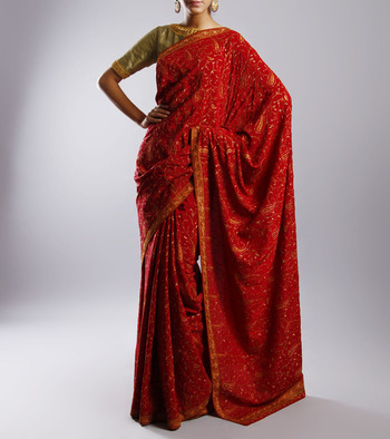 Red fancy crepe saree with full kashmiri hand embroidery without blouse