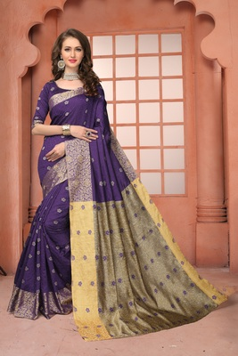 Dark purple woven banarasi cotton saree with blouse