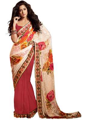 Ethnic Basket Georgette Cream With Maroon Colored Saree.With Blouse