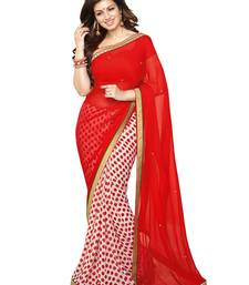 Buy Red printed georgette saree with blouse fancy-saree online