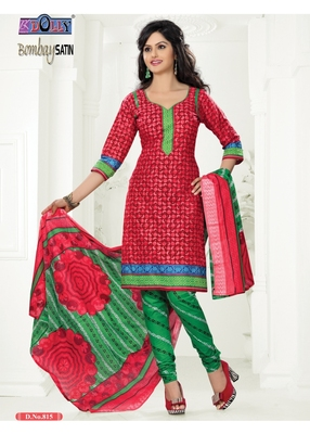 Red Embroidered Cotton Un-Stitched Printed Salwar Kameez