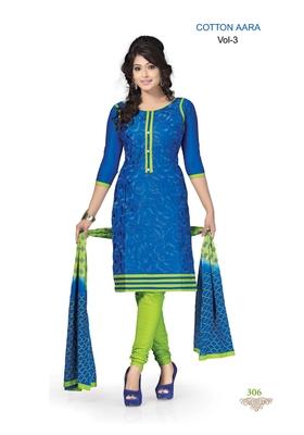 Blue Embroidered Cotton Un-Stitched Printed Salwar Kameez