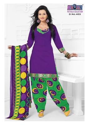 Purple Embroidered Cotton Un-Stitched Printed Salwar Kameez