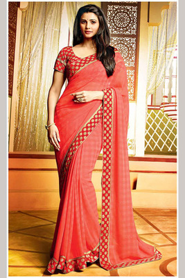Daisy Shah Red Embroidered Saree Made of Georgette Fabric with Art Silk Blouse Piece