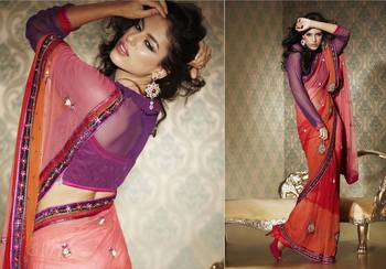 Pink FauxGeorgette Sari