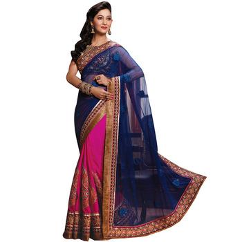 Blue and rani embroidery soft net georgette Half N Half designer wedding  saree