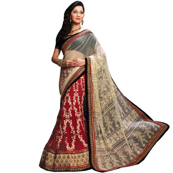 Cream and maroon embroidery soft net and gerogette lehenga saree with blouse