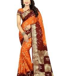 Buy Orange woven art silk saree with blouse bandhani-sarees-bandhej online