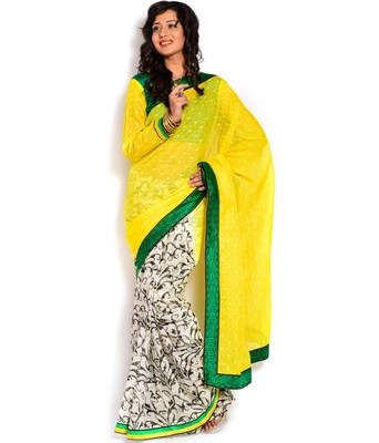 Yellow and white embroidered cotton Half N Half saree with blouse