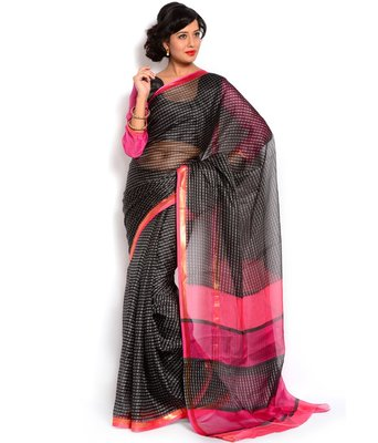 Black with pink embroidered cotton full saree with blouse