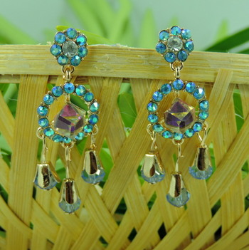Small Multi Round Shape Blue Crystal Golden Earring