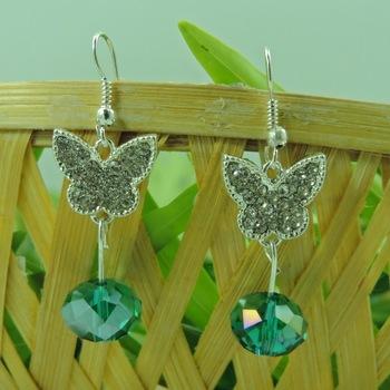 Silver Butterfly Shape C Green Crystal Drop Earring
