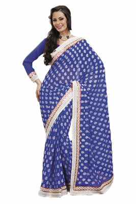 Trendy Fancy Saree in a Chiffon Fabric with Crosio Lace Border