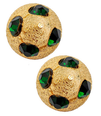 Bright Green Indian Ethnic Push-Back Stud Earrings