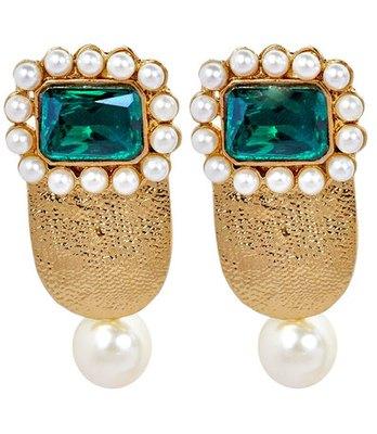 Cute Green Pearl Push-Back Drop Earrings