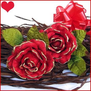 Pretty Velvet Roses x 2 ( Red )
