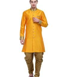 Buy Gold Plain Sherwani For Men gifts-for-brother online