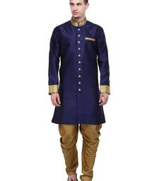 Buy Navy And Gold Plain Sherwani For Men gifts-for-brother online