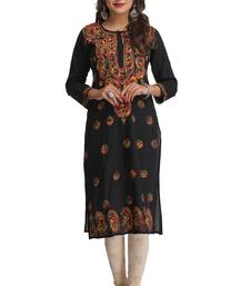 Buy Black embroidered stitched cotton-kurtis chikankari-kurtis online