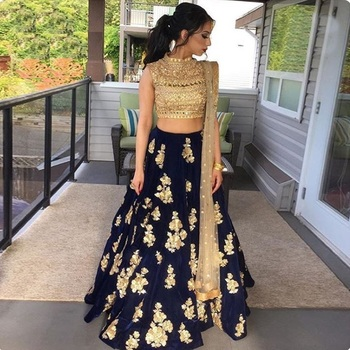 Fashionlife Navy Blue Embroidered silk Desiner Semi-stitched lehenga choli with duptta