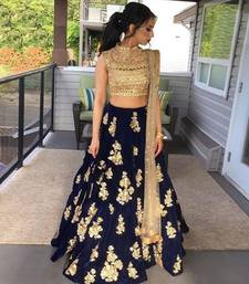 Buy Fashionlife Navy Blue Embroidered silk Desiner Semi-stitched lehenga choli with duptta lehenga-choli online