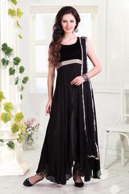 Black exclusive Georgette Hi-Low Anarkali with Brocade Straight Pants-SL2626