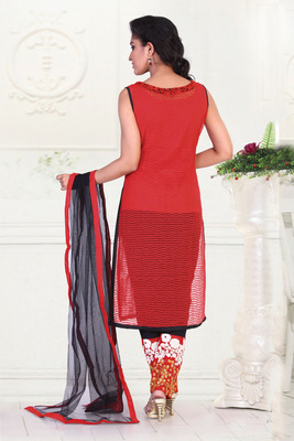 Red  Weaved Embroideried Net Chudidar with thread work pants -SL2633-red