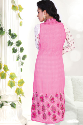 Pink thread worked georgette with thread work standing collar-SL2634-pink