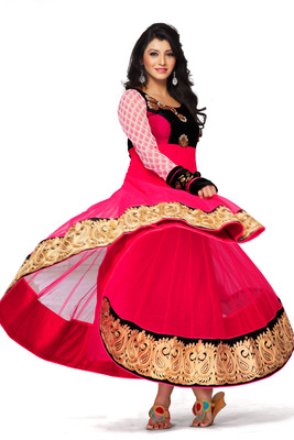 Rani Pink Net Flared Designer Anarkali with Black zari worked Border - SL2657