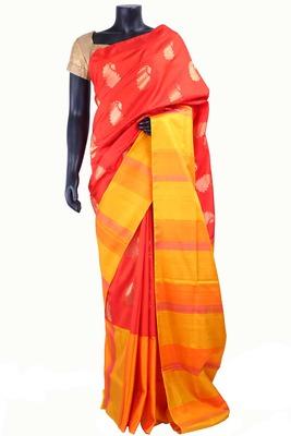 Red silk zari butta saree with mustard pallu & yellow border - SR5165