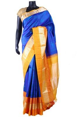 Royal blue pure silk weaved saree for wedding wear zari work in pallu-SR5269