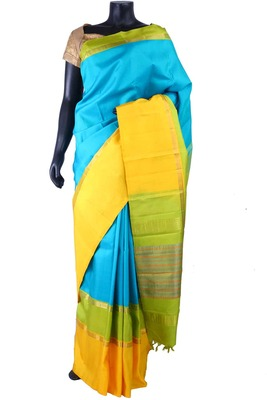 Sky blue pure silk saree with green pallu & multi colour border-SR5286