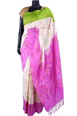 White pure silk zari weaved saree in pink & green border-SR5358