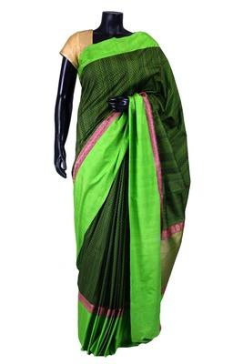 Bottle green banarasi weaved saree in green border & pallu-SR5440