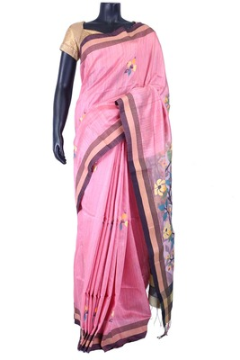 Baby pink tussar fabric saree in multi colour weaved pallu-SR5443