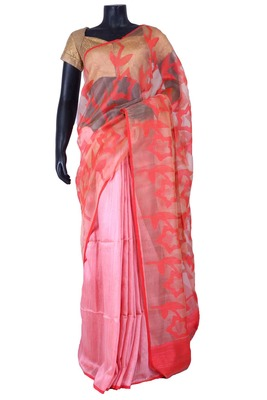 Pink tussar fabric saree in multi colour weaved pallu & red blouse-SR5450