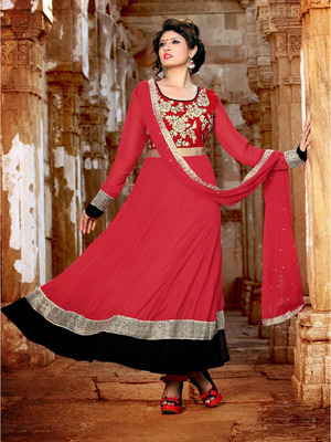 Hot Red Long Anarkali Suit
