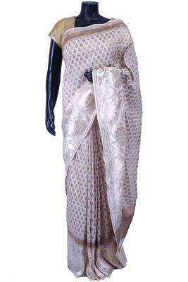 White pure silk zari weaved saree in golden pallu & white blouse-SR5575