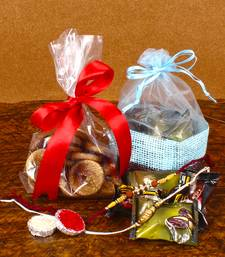 Buy Chocolate Date and Dry Fig with Two Fancy Rakhi Thread rakhi-with-sweet online