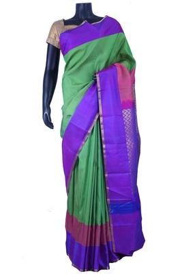 Green pure silk plain saree in purple zari weaved pallu -SR5637