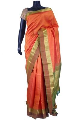 Tangerine pure silk weaved saree in multi color saree border-SR5652