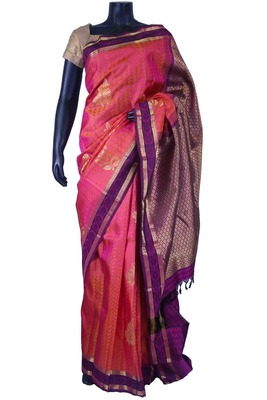 Peachish pink pure silk zari weaved saree with purple pallu -SR5666