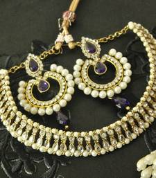 Buy Kundan Necklace with Dangling Blue Colour Earrings necklace-set online