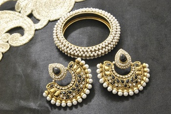 New Ram Leela Black colour Earrings with Gold Plated Kada studded with Pearl
